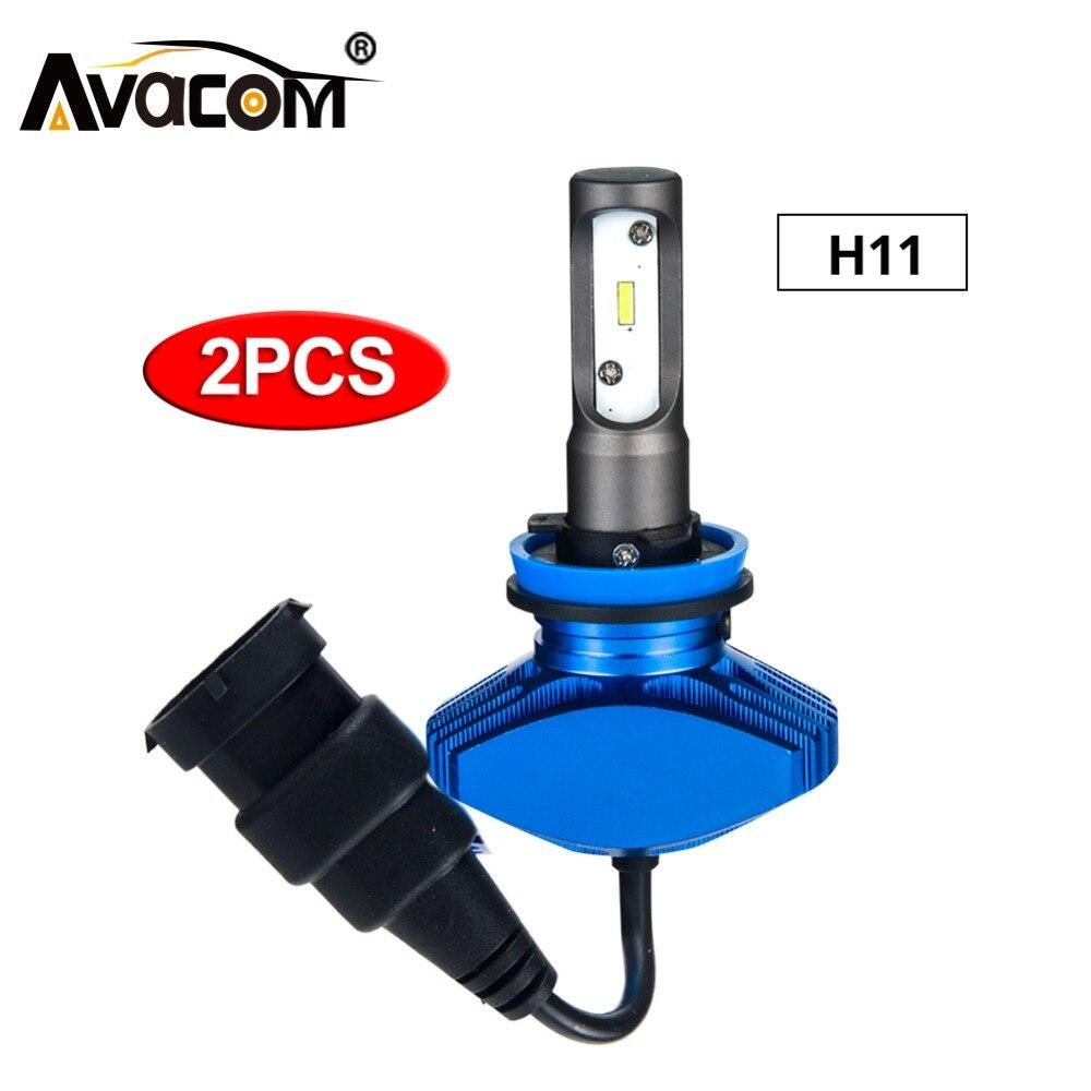 Avacom 2pcs H11 LED 12V Car Fog Light Auto Headlights Bulb CSP 6500K Super White 8000Lm 80W 24V LED H8/H9 Automobiles Fog Lamp