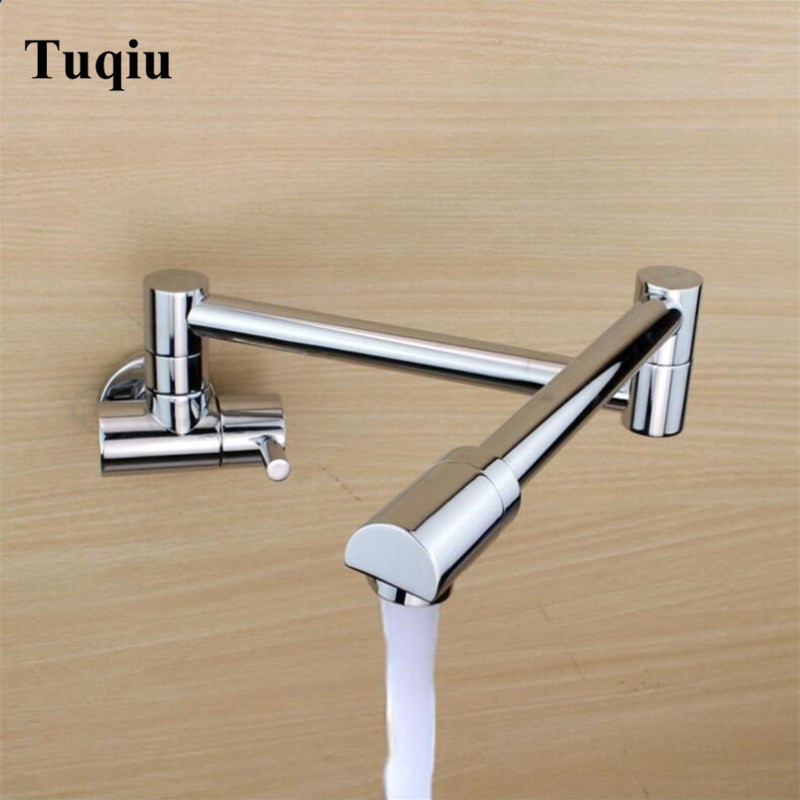 Copper Sink Chrome Foldable Kitchen Faucet bathroom Sink Tap Wall mount Water Mixer torneira cozinha grifos cocina dragon lanos цена