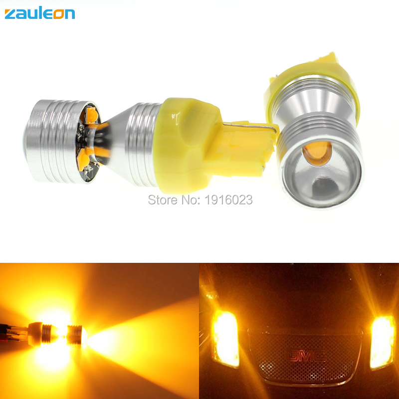 Zauleon 2pcs T20 7440 WY21W Amber Yellow 20W LED Bulbs For Car LED Bulbs For Front Turn Signal Lights Auto Replace LED Lamp ijdm amber yellow error free bau15s 7507 py21w 1156py xbd led bulbs for front turn signal lights bau15s led 12v