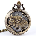 Hot Chinese Zodiac 12 Bronze Rabbits Playing Hollow Quartz Pocket Watch Necklace Pendant Carving Back Womens Men GIfts P252