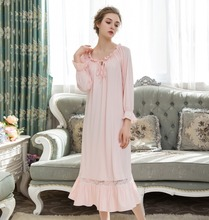 Spring Palace Princess Sleeping Dress Women Long Sleeve Nightgown Sleepwear Ladies Sleepshirts Off-Shoulder  Home Nightwear