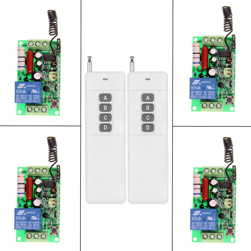 3000m AC 220V 110V 1 CH 1CH RF Wireless Remote Control Switch System,2X 4CH Transmitter + 4 X Receiver,Self-lock/Jog,315/433.92 dc12v rf wireless switch wireless remote control system1transmitter 6receiver10a 1ch toggle momentary latched learning code