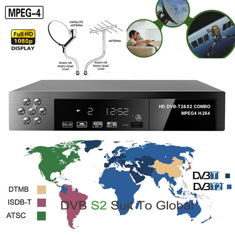 Dvb-s2 Combo Terrestre TV Satellitare Ricevitore digitale HD DVB-T2 H.264 MPEG-4 Sintonizzatore TV dvb-t2 dvb-s2 Decoder Supporto Bisskey