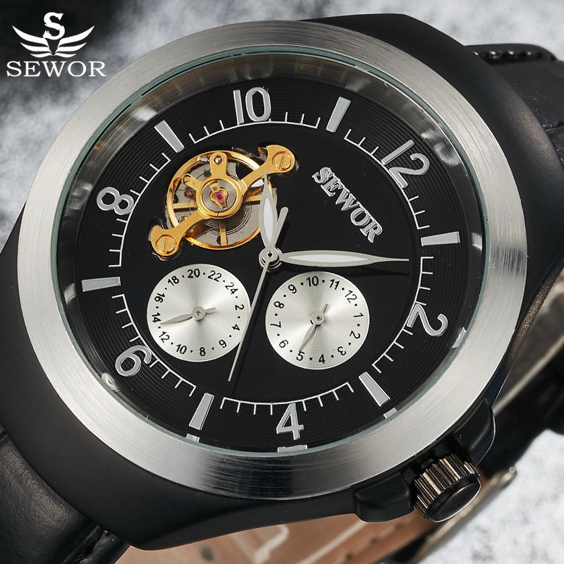 SEWOR Tourbillon Mechanical Watch Men Vintage Top Brand Luxury Mens Automatic Watches Gold Business Watches Casual Wristwatch fully automatic mechanical watches dragon skeleton tourbillon wristwatch 50m waterproof mens watches top brand luxury gold watch