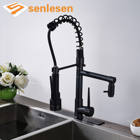 Kitchen Mixer Faucet With LED Light Oil Rubbed Bronze Deck Mounted With Hole Cover Plate