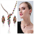New 2015 Hot Selling Vintage jewelry sets fashion colorful rhinestone statement jewelry sets stud earrings and necklaces 5319