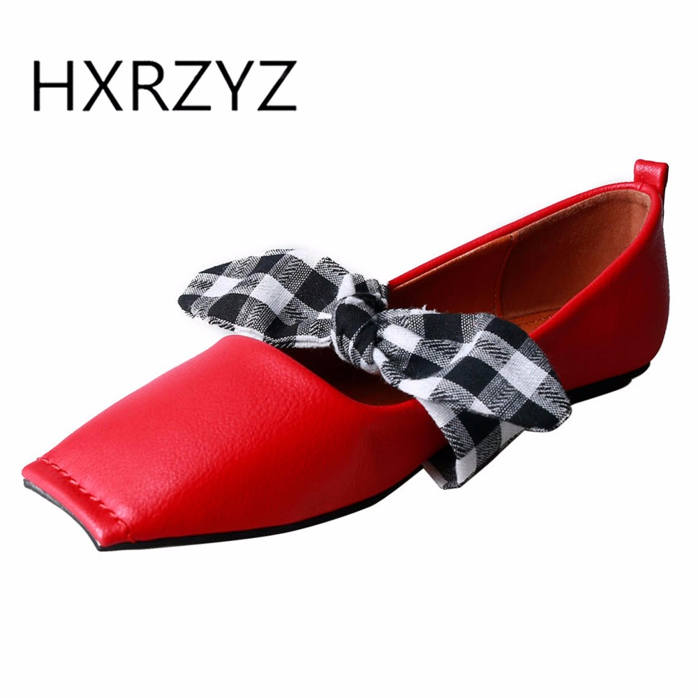 HXRZYZ large size women black flat shoes ladies square toe bowknot casual shoes spring/autumn new fashion female leather loafers 2017 new spring female flat heels martin shoes bullock shoes female thick bottom loafers large size women shoes obuv ayakkab