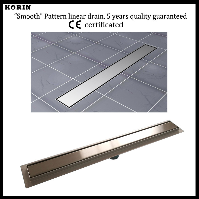 "1000mm ""Smooth"" Style Stainless Steel 304 Linear Shower Drain, Vertical Shower Drain with flange, Floor Waste, Shower Channel"