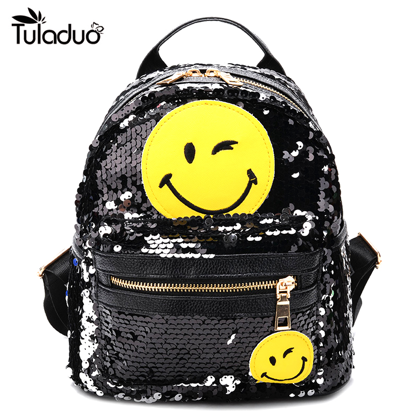 Backpack Female Bling Sequins Mini Backpacks Cute Smile Double Shoulder Bag Women Mini S ...