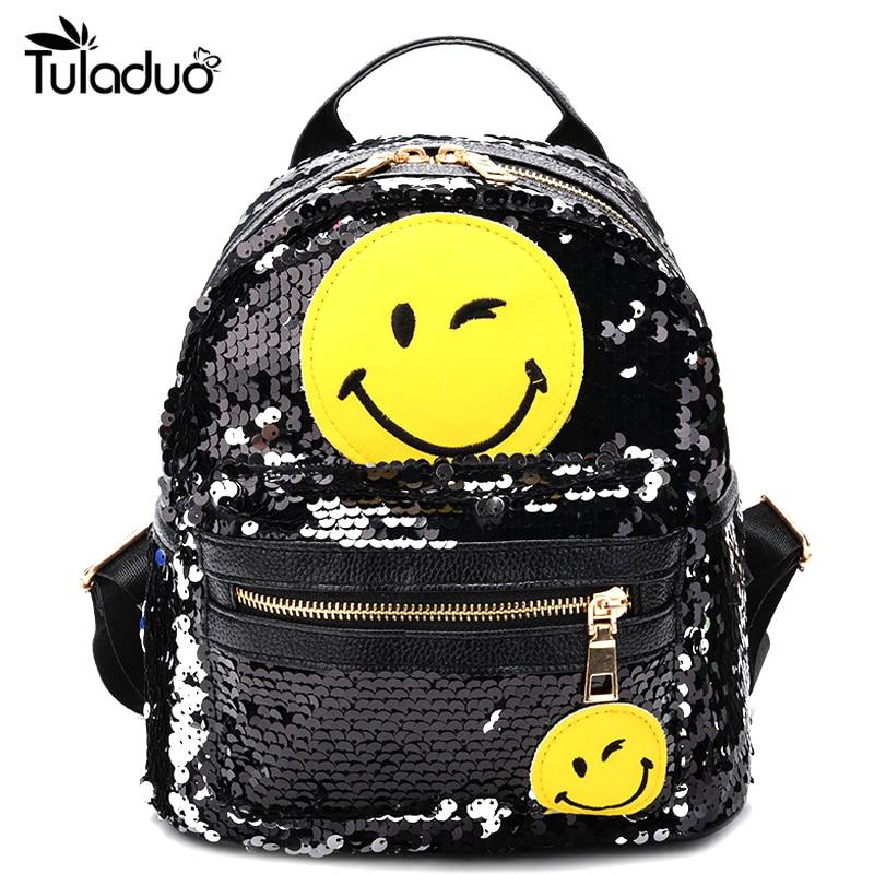 Backpack Female Bling Sequins Mini Backpacks Cute Smile Double Shoulder Bag Women Mini School Bag For Children Girls Travel Bags