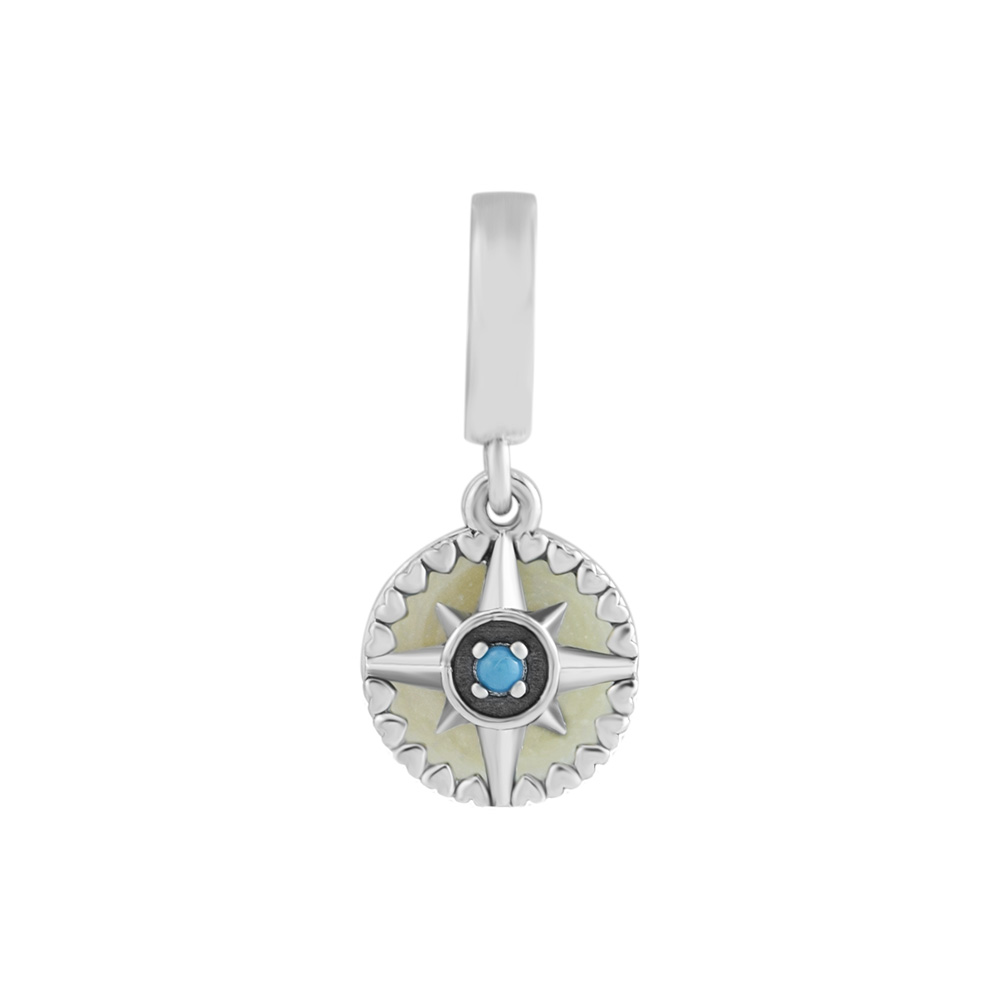 925 Sterling Silver Compass Rose Dangle Charm, Silver Enamel & Cyan Blue Crystal Fit Pandora Bracelet Charm DIY Making Jewelry