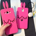 Для Samsung Galaxy A7/8 s6 s7 s6edge s7edge примечание 5 3D Мультфильм Прекрасный Красная Роза Кролик Мягкий Силиконовый Чехол Для Телефона
