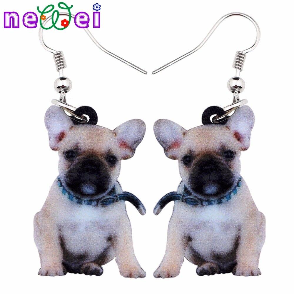 NEWEI Acrylic Cute Sitting Belt French Bulldog Dog Earrings Big Long Dangle Drop Women Girls Ladies Fashion Anime Jewelry Bulk