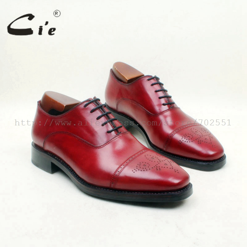 cie Free Shipping Bespoke Handmade Dress Office Men's Oxford Genuine Leather Lace-up Semi broguesColor Red Brown  Shoe Goodyear купить часы haas lt cie mfh211 zsa