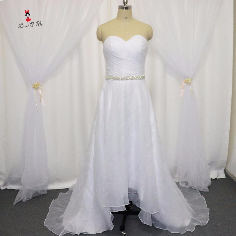Organza Wedding Gowns: Summer Beach High Low Wedding Dress Organza Wedding Gowns