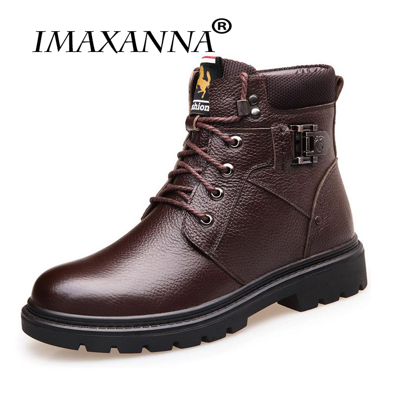 IMAXANNA Brand Hot Sale Winter Snow Boots High Quality Pu Leather Warm Boots Waterproof Casual Working Shoes Fashion Men Boots 2016 new arrival men winter martin ankle boots pu leather high quality fashion high top shoes snow timbe bota hot sale flat heel