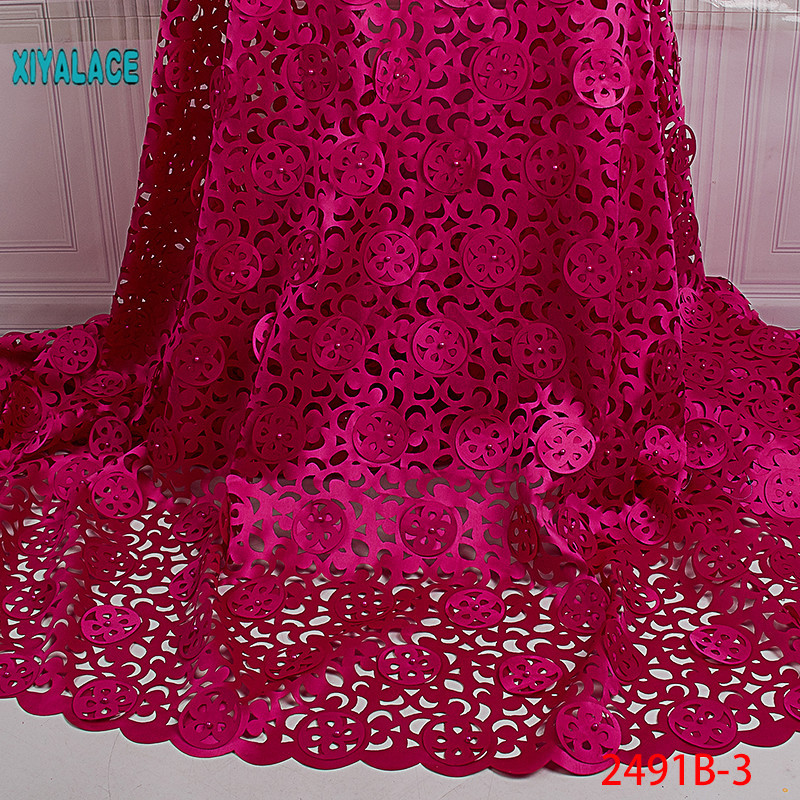 African Lace Fabric 2019 High Quality Lace 3D Flowers Tullle Lace Fabric French Beads Lace Fabric For Party Beads YA2491B-1