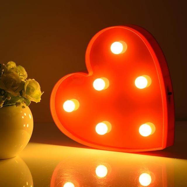 cute heart shape led night light home bedroom baby kids room sweet decoration lamp 6 led red. Black Bedroom Furniture Sets. Home Design Ideas