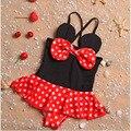 2016 de los Bebés de Baño Del Niño Del traje de Fruta Niñas Traje de Baño traje de Baño Halter Bow Niños de Los Niños de Una pieza de Las Muchachas Del Bebé del traje de Baño