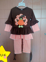 Boutique Remake Baby Girls Thanksgiving Outfits Ruffles Turkey Top With Bow Strieps Pants Clothing Kids Autumn Set T009