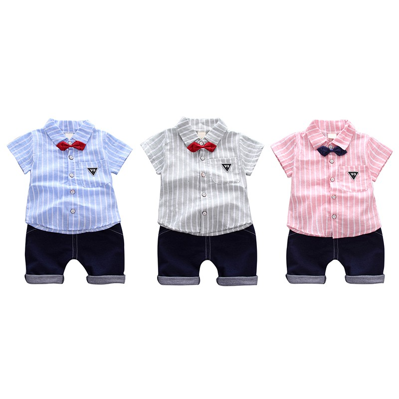 Summer Style Baby Boy Clothing Set Newborn Infant Clothing 2pcs Short Sleeve Striped T-shirt + Suspenders Gentleman Suit new spring and summer baby boy clothing set gentleman newborn clothes set bow plaid long sleeve shirt overalls baby suit xl131