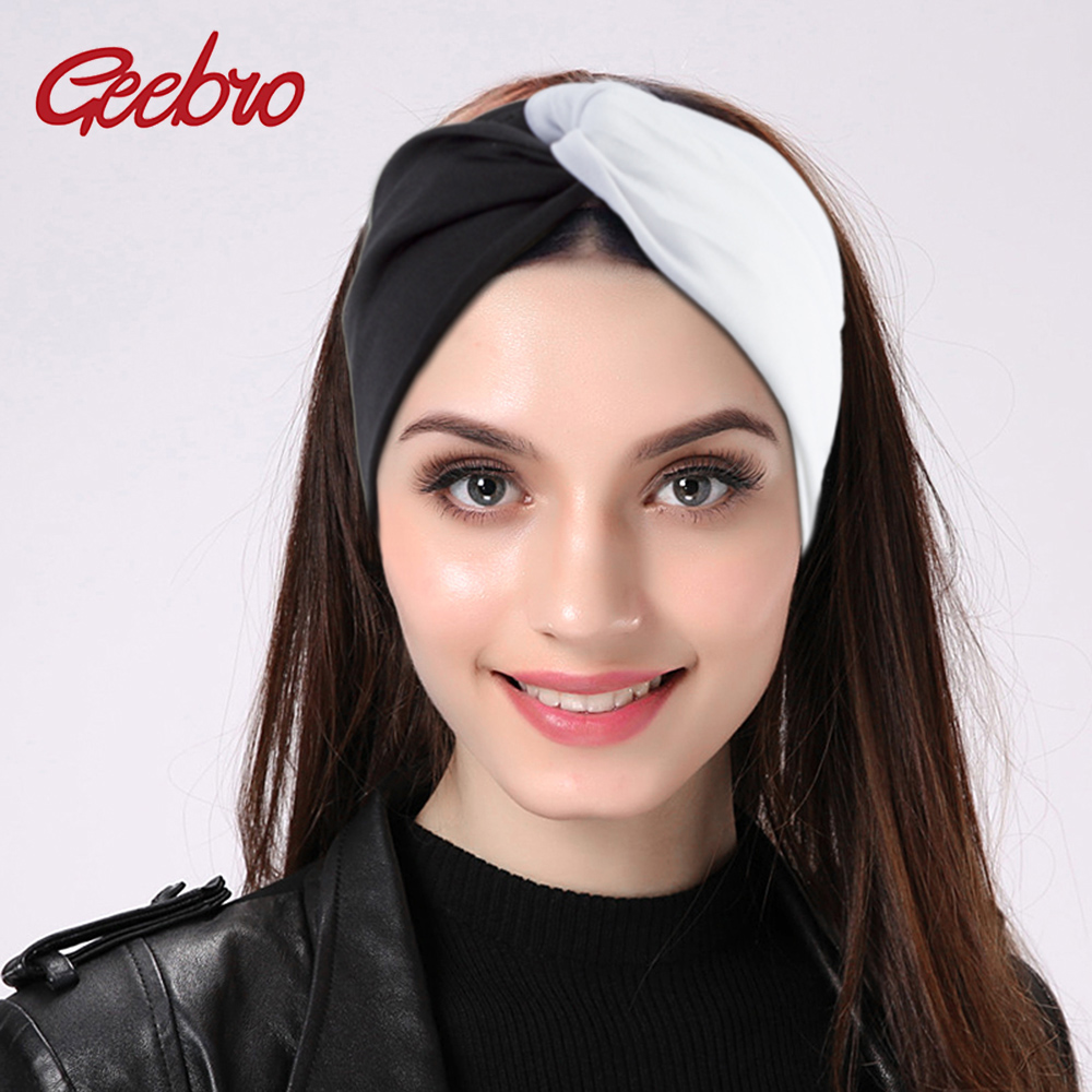 Geebro Women Elastic Patchwork Turban Headbands Twist Stretch Hairbands Fashion Headband Yoga Headwrap Spa Head Band For Girls