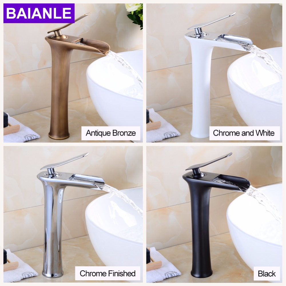 Deck Mounted Bathroom Antique Bronze Waterfall Faucet Basin Mixer Tap Single Hole Single Handle Black Brush Chrome Finished newly single handle single hole bathroom waterfall basin sink faucet led light changing mixer tap chrome finish deck mounted