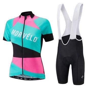 Morvelo 2019 Mulher Conjunto Camisa de Ciclismo Pro Bicicleta Sportswear Bicicleta Roupas Shorts Ropa ciclismo Maillot Roupas de Ciclismo Manga