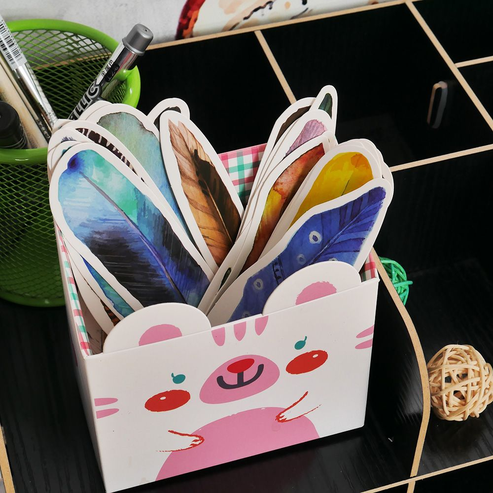 30pcs/lot Cute Kawaii Paper Bookmark Vintage Feathers Book Marks For Kids School Materials Free Shipping