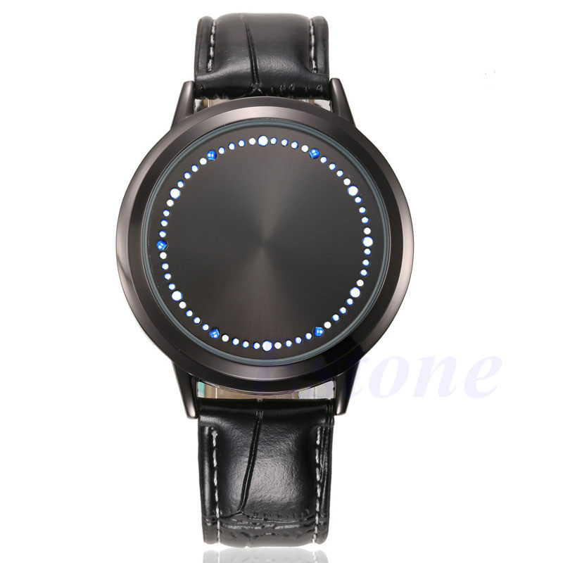 Fashion Men LED Digital Watches Touch Screen Leather Band Women Unisex Sport Wrist Watch Gai
