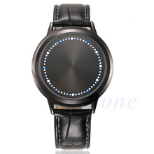 Fashion Men LED Digital Watches Touch Screen Leather Band Women Unisex Sport Wrist Watch