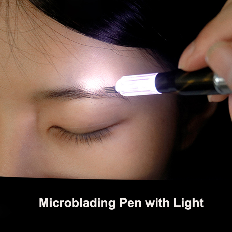 Professional Microblading Manual Pen With LED Light Tattoo Hand Tools For Eyebrow Embroidery Permanent Makeup Accessories Supply