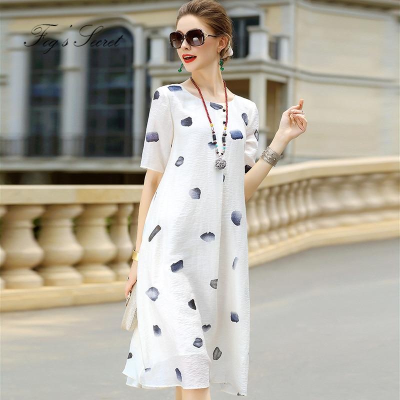 2019 été automne linge blanc robes pour femmes Europe marque grande taille impression longue robe blanche lâche pour femme
