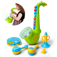 Children Saxophone Musical Toy Model Baby Early Learning Education Musical Instument Playsets Green Trumpet For Kids Gift