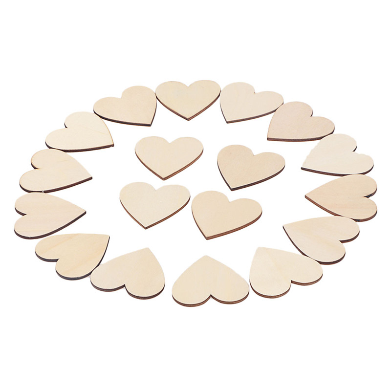 25pcs 50mm Blank Heart Wood Slices Discs For DIY Crafts Embellishments (Wood Color)