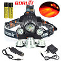 Linternas 5000 lumens 3-modes 3 LED XML T6+XPE Red LED Headlight Headlamp Head Lamp Light Flashlight 18650 Charger