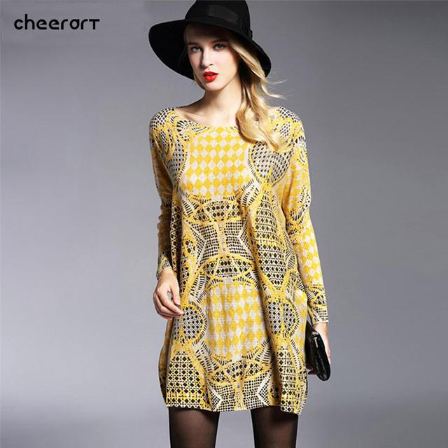 bbbcf71598a2 Autumn 2016 New Women Knitted Yellow Long Loose Large Plus Size Oversized  Sweaters And Pullovers Jumper