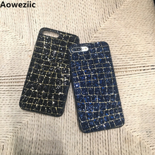 Aoweziic Luxury Sexy 3D colourful thread Bling Glitter sequins grid diamond bling Phone Case For iphone X 6s 7 8 Plus XS MAX XR