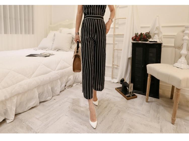 2018 Korean Summer Temperament Sleeveless Two Piece Set Stripe Fashion Wide Legging 2 Piece Set Women 11