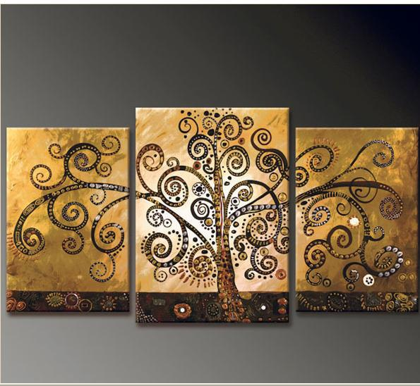 Hand Painted Canvas Abstract Oil Painting Tree Multi Panel