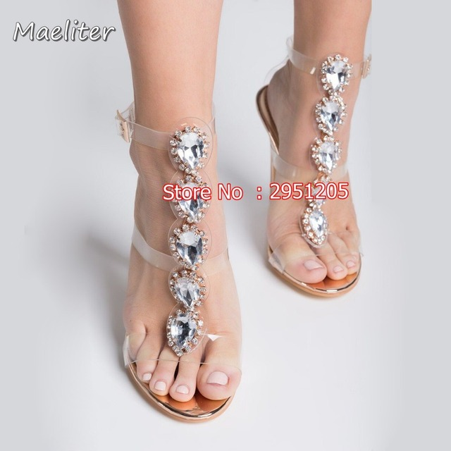 569173ad21d Hot Sale Women Open Toe T-Strap Gold Silver gladiator Sandals Crystal  Transparent Clear High Heel bling bling Rhinestone Shoes
