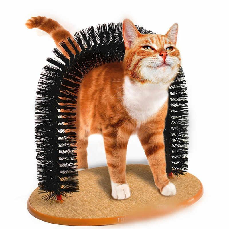 New Arrival kot domowy Self Groomer z okrągłą podstawą z polaru zabawka dla kota szczotka zabawki dla zwierząt drapanie urządzeń chwytających szybkie czyszczenie