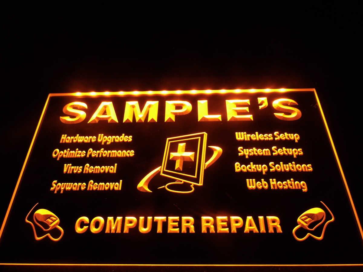 DZ059-nombre personalizado Reparación de computadora pantalla neón cartel para colgar artesanías de decoración del hogar
