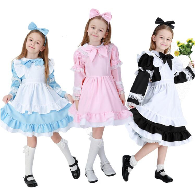 3-15Y Child Alice in Wonderland Girls Fancy Dress Maid Lolita Costume Cosplay Outfits Set for Kids Girls Halloween Costume