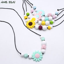 MHS.SUN Sunflower Silicone Teething Nursing Necklace Chewable Breastfeeding Jewelry for Mom Baby Silicone Toy Shower Gift 1Pcs(China)