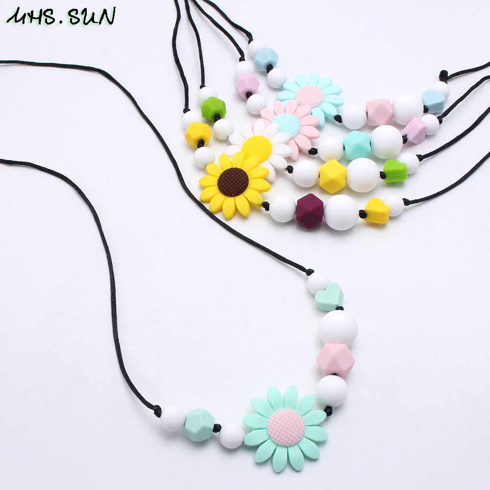 MHS. sol girasol silicona dentición enfermería collar Chewable lactancia joyería para mamá bebé silicona juguete ducha Regalo 1 piezas