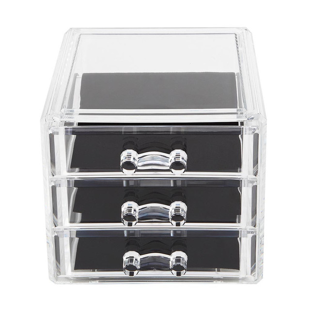 New Clear Acrylic Desktop Cosmetic Storage Organizer Box 3 Drawers Makeup  Cases Storage Makeup Organizer Organizador