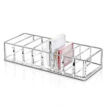 Clear Acrylic Brush Lipstick Eyeshadow Holder Makeup Organizer Cosmetic Makeup Tools Storage Box Case 22x9x5.5CM(China)