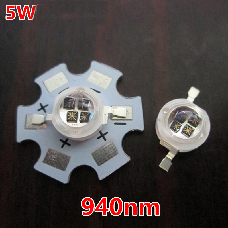 5W four core 940nm Infrared transmitting tube LED lamp beads with 20mm aluminum plate High power infrared 10pcs