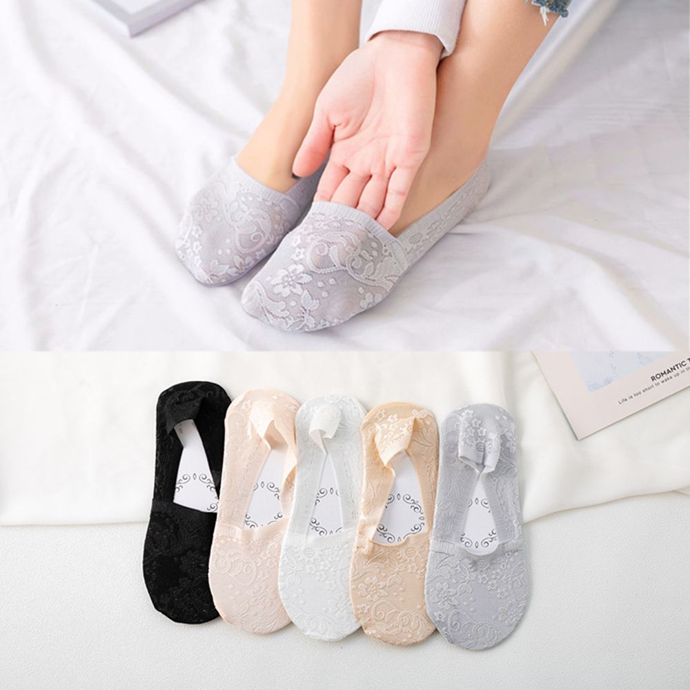 Women Fashion Crystal Socks Stockings Anti Skid Ultra-thin Lace Boat Socks ME
